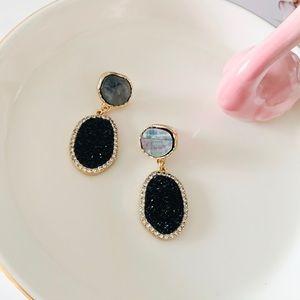 ASOS Druzy Drop Earrings Black